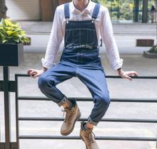 S-3XL ! Tide men's slim overalls loose casual male fashionable denim bib pants suspender trousers jumpsui denim feet pant !