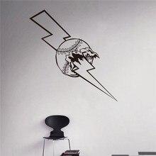 New arrival Lightning Bolt Baseball Wall Sticker Home Interior Art Murals Housewares Design sports wall stickers
