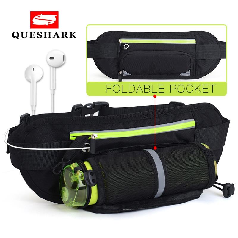 Black Reflective Fitness Sport Running Waist Belt Pouch Bag Fanny Pack