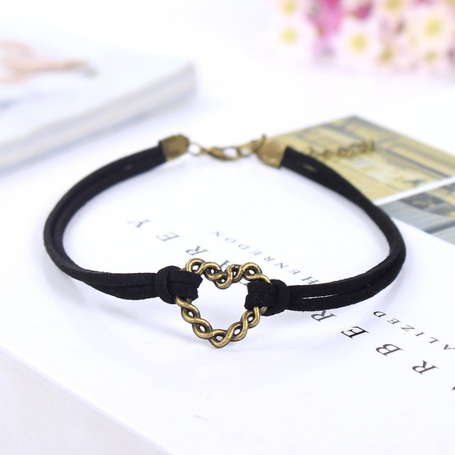 Girls Fashion Black Adjustable Leather Tattoo Charm Collar Jewelry