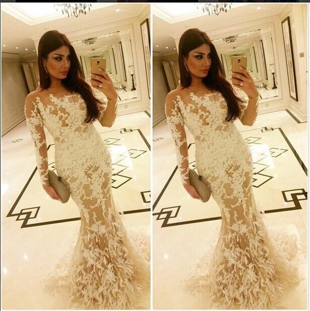 2017 Elegant Celebrity   Evening     Dresses   Saudi Arabia Dubai Middle East Muslim Mermaid Ivory Appliques Long Sleeves   Evening     Dress
