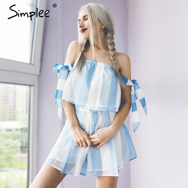 Simplee Off shoulder organza striped jumpsuits romper Summer beach bow sleeve overalls Women blue two-piece playsuit leotard