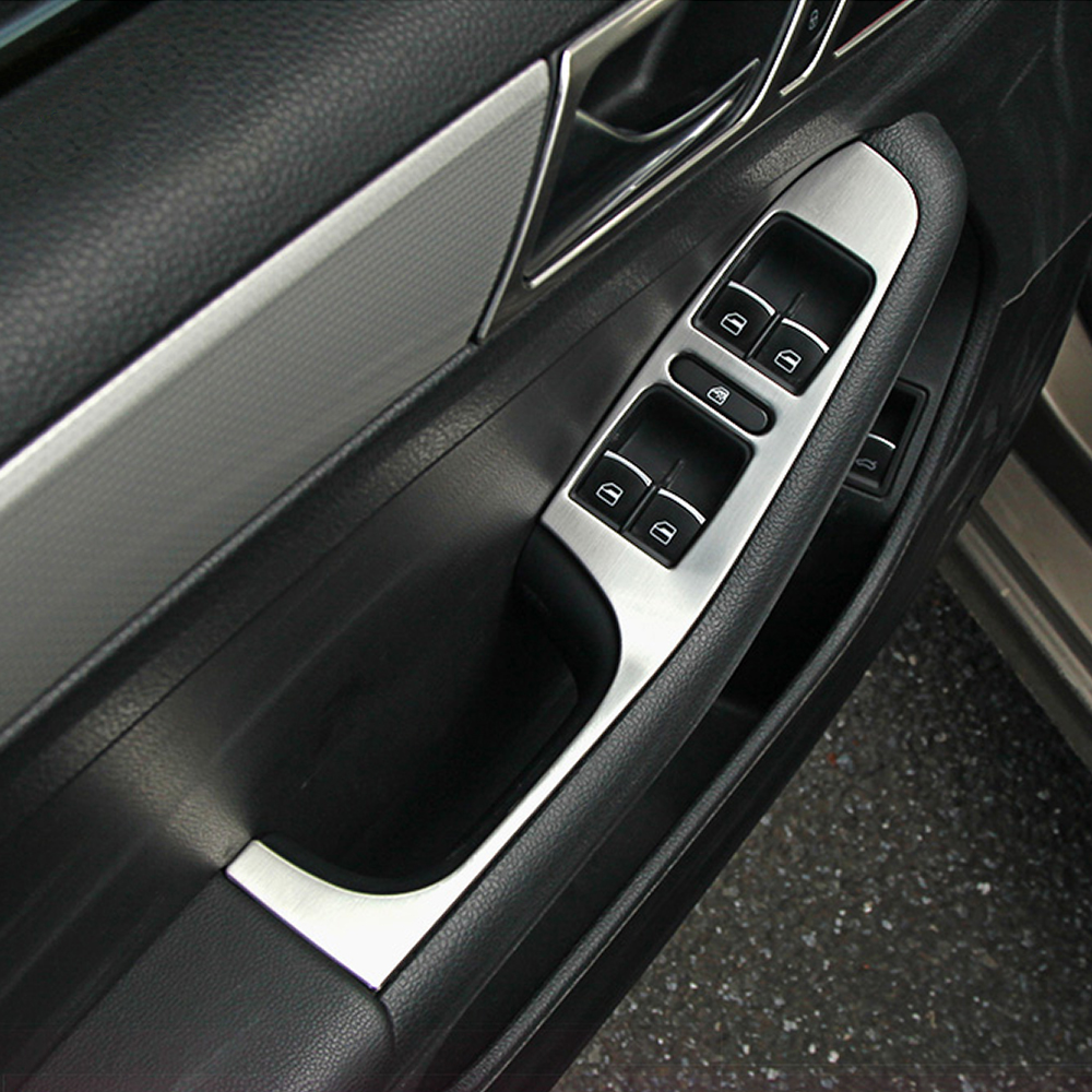 Car styling stainless steel armrest panel cover decoration for volkswagen vw jetta mk6 car