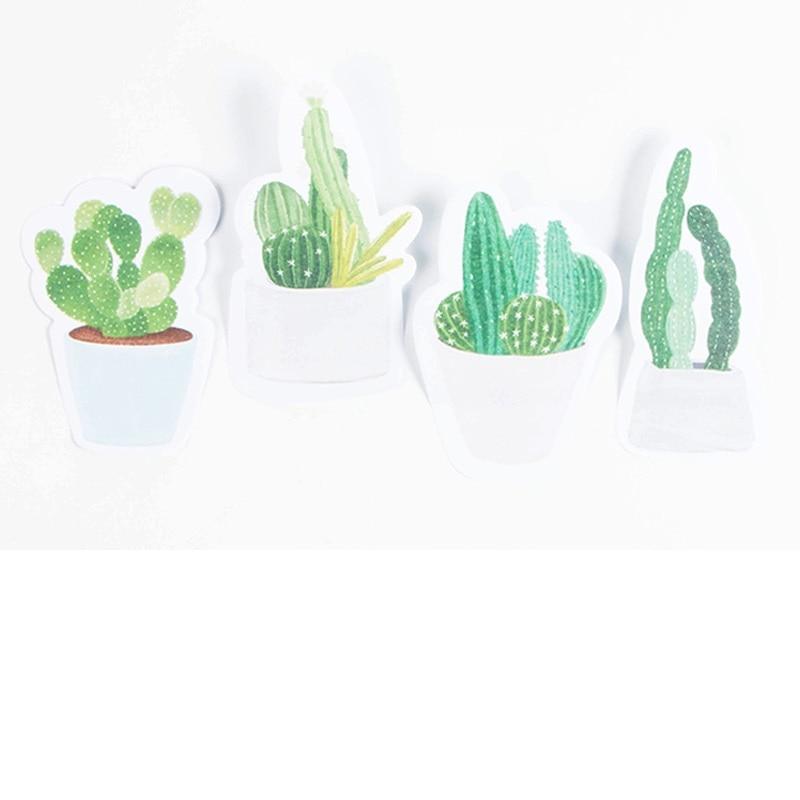 4 stks / partij Groene Cactus plakbriefjes Groene planten memo pads - Notitieblokken en schrijfblokken bedrukken - Foto 4