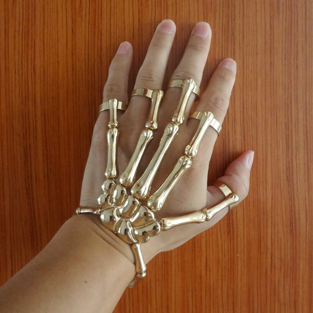 Hand Skull Gold Skeleton