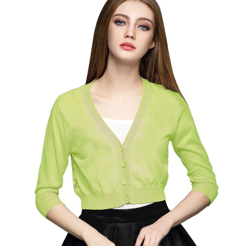 Mujeres Botón de Cáscara V-cuello Camisas Cardigan Tejido de Punto Tejido de Pun