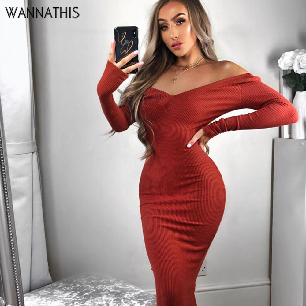WannaThis Maxi Dress Plus Size Ribbed Knitted Sexy Ankle-Length V-Neck Party Solid Casual Skinny Cotton Long vestidos