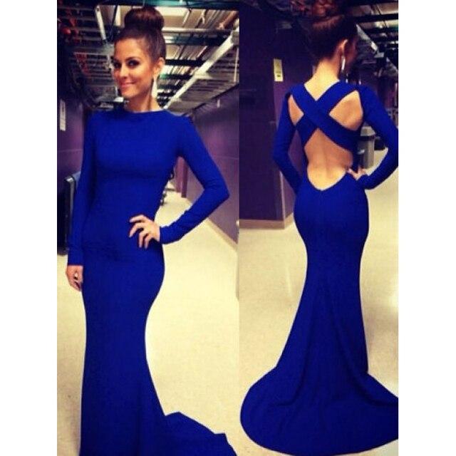 Royal Blue 2016 New Sleek Fashion Design Backless Abeadkleider ...