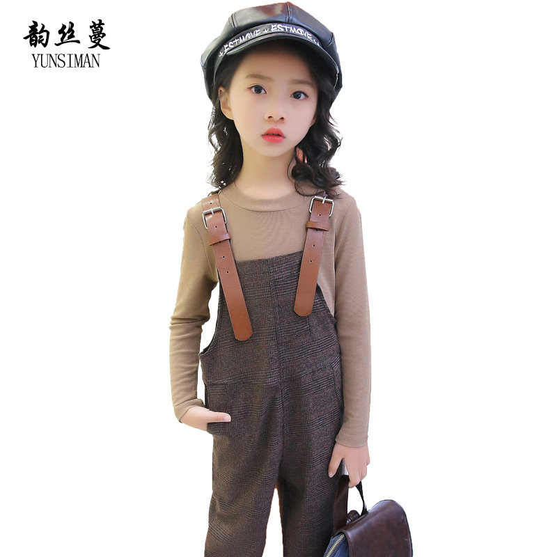 2018 Kids Spring Clothing Sets for Girls Age 4 6 8 10 12 Years Baby Khaki Full Sleeve Cotton Top Girls Overalls+Pants Suit 5M23 girls jeans overalls for girl denim 2017 spring pocket jumpsuit bib pants children s hole jeans baby overall for kids 3 12 years