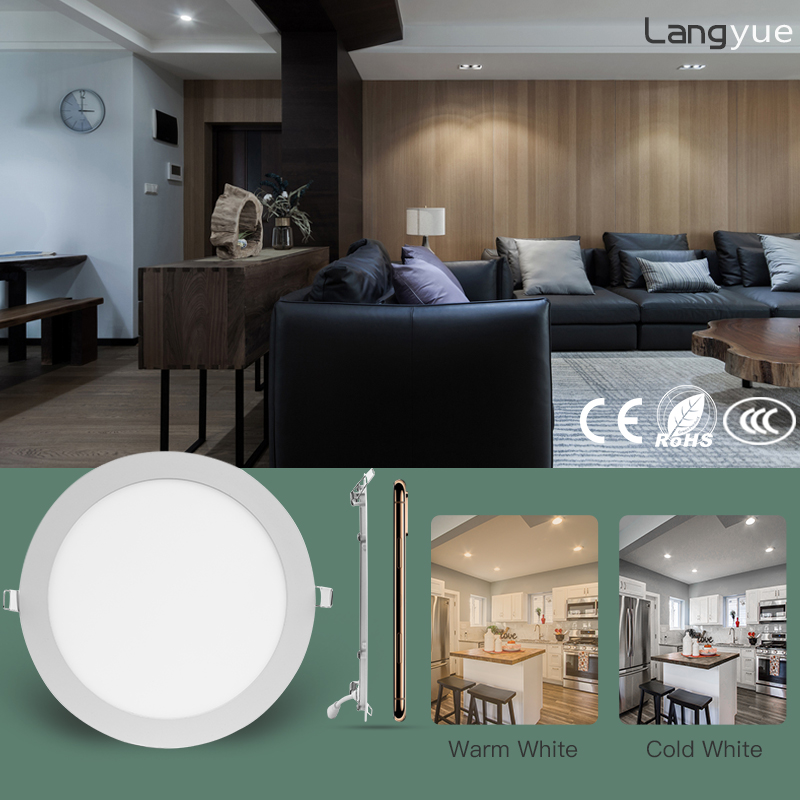 LANGYUE Round Led Downlight Recessed Ceiling 220V 3 4 6 9 12 15 18W Spot Led Lights Surface Mounted Down Light Fixture Panel in Downlights from Lights Lighting