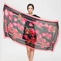 180 cm * 90 cm Mulheres 2017 New Fashion Designer Marca tulipa e Cadeia Floral Impresso Longo Lenço De Seda Pashmina grande Xale YAU034
