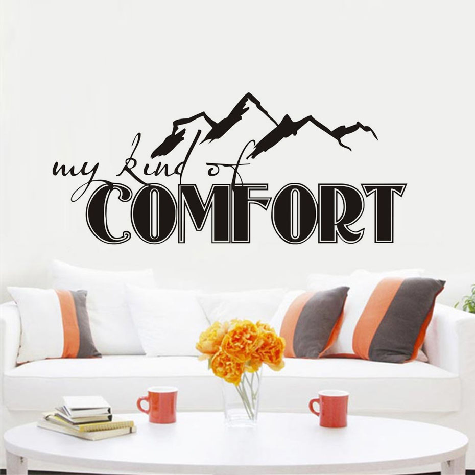 My kind of comfort vinyl art wall sticker mountain living room my kind of comfort vinyl art wall sticker mountain living room home decor stickers for wall decoration many rooms applicable in wall stickers from home amipublicfo Image collections