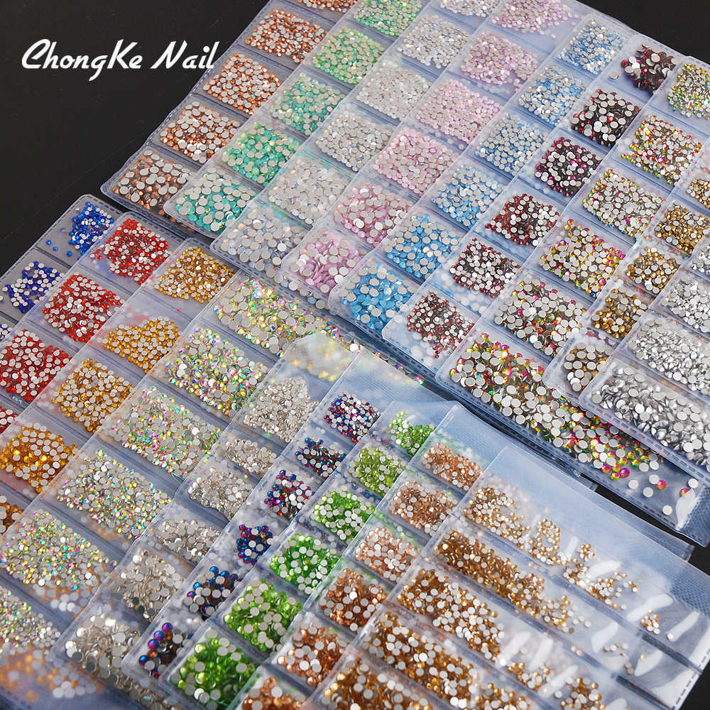 Hisenlee 1728pcs 31 Color Glass Stones SS3-SS10 Small Sizes Nail Art Flat Back Rhinestones For 3D Nails Gems