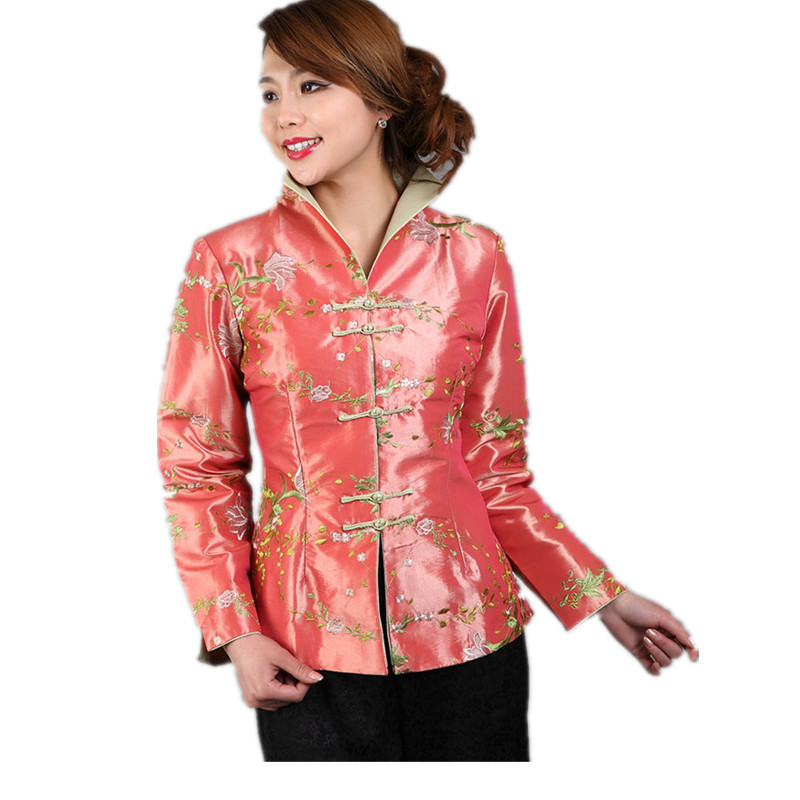New Arrival Spring Vintage Chinese Women's Silk Satin Embroidery Jacket Coat Long Sleeves Flowers Size S M L XL XXL XXXL