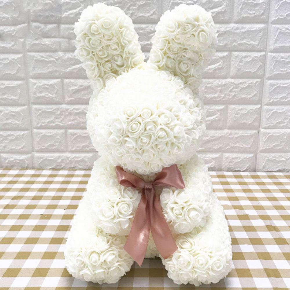 Искусственные цветы розы Медведь собака кролик Мопс юбилей день Святого Валентина подарок на день рождения мать подарок Свадебная вечеринка украшение - Цвет: 40CM White Rabbit