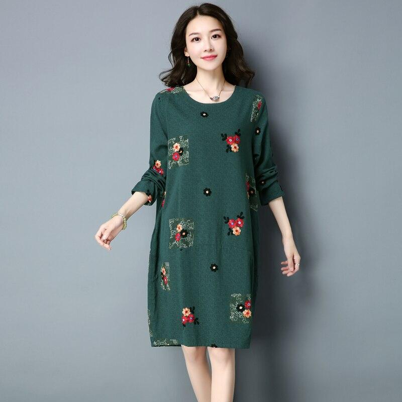 Grande Et Mode blue Printemps Femmes 2018 Fleur Robe red Nouvelles Qpipsddress Coréenne brown Taille Style National Green Slim D'été TwXZiOkuP