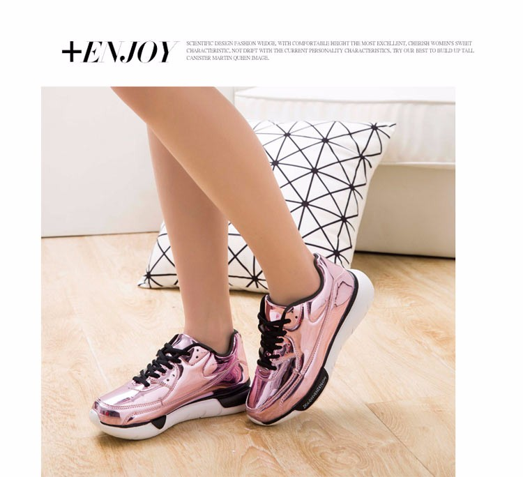 Mirror Surface Women 90 Casual Shoes Fashion Spring Lace Up Platform Womens Shoes Low Top Lace Up Trainers Women Gold Shoes YD52 (34)
