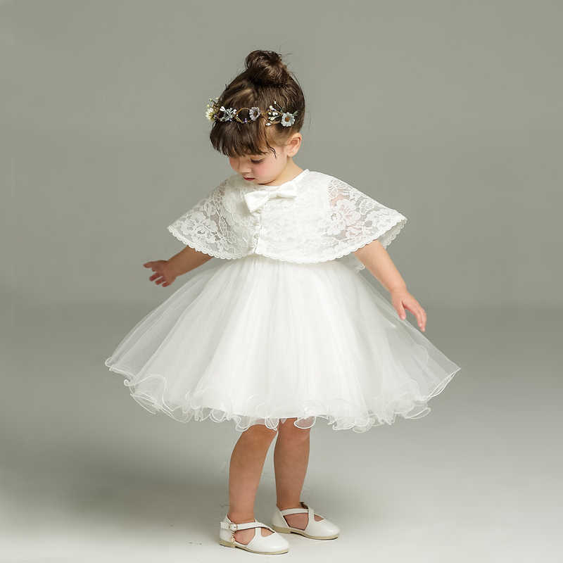 3e840e559 Newborn White Dress For Baptism Sleeveless Baby Girl Lace Christening Gown  Dress Toddler 1st Birthday Party