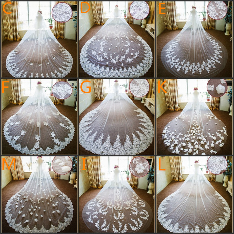 Voile Mariage Ivory One Layer Cathedral Wedding Veil Long Appliques Lace Edge Bridal Veils Wedding Accessories
