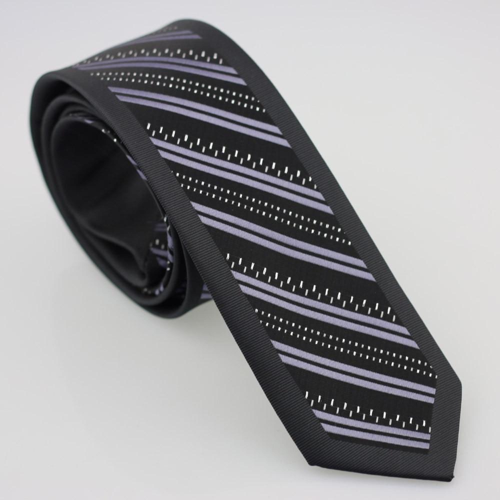 Yibei Coachella Галстуки черный галстук узкий граничит с фиолетовым диагональной полосатый серебряный малый точки микрофибры Тонкий Gravata Masculina