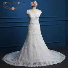 Rose Moda Short Cap Sleeves V Neck Lace Wedding Dress