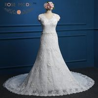 Short Cap Sleeves V Neck Lace Fitted A Line Wedding Dress Donata Illusion Back Pearl Beaded Bridal Gown Real Photos