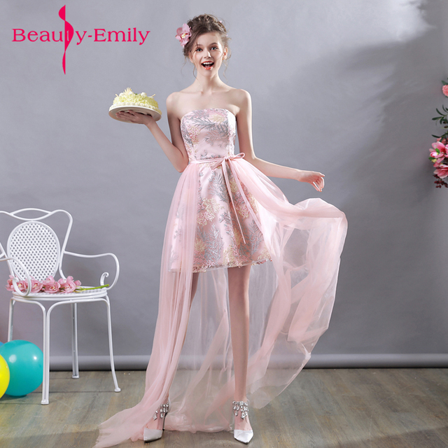 High Low Tail Dresses 2018 Beauty Emily Soft Pink Formal Gowns Short Front Long Back Train