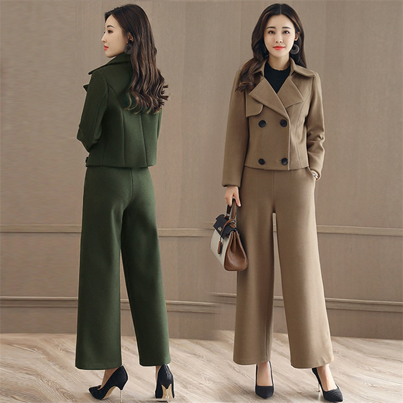 2 Pcs Suit Set Blazer + Pants Suit 2017 Blazer Feminino Spring Elegant Business Work Jackets Ladies blackOL Long Blazers Set