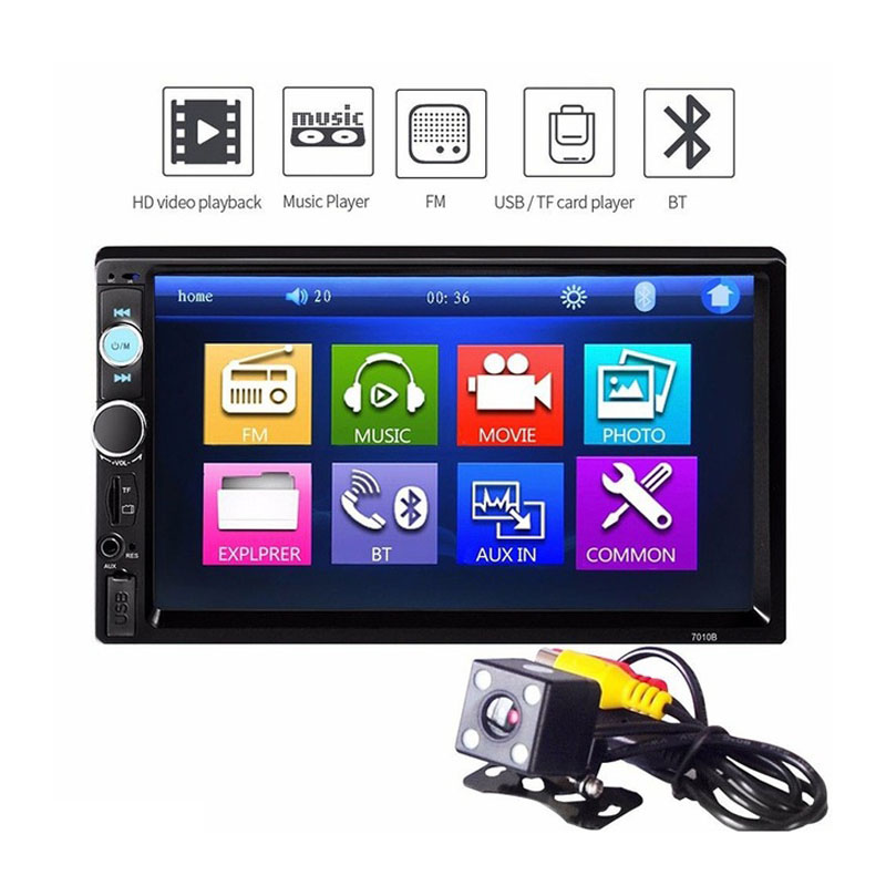 2 Din Car Video Player Car DVD 7 inch Bluetooth FM Radio Car MP5 Player with 720P Camera Touch Screen FM Digital Display free shipping 6 2 inch full hd digital capacitive touch screen fm radio bluetooth usb multi media dvd mp5 player bass