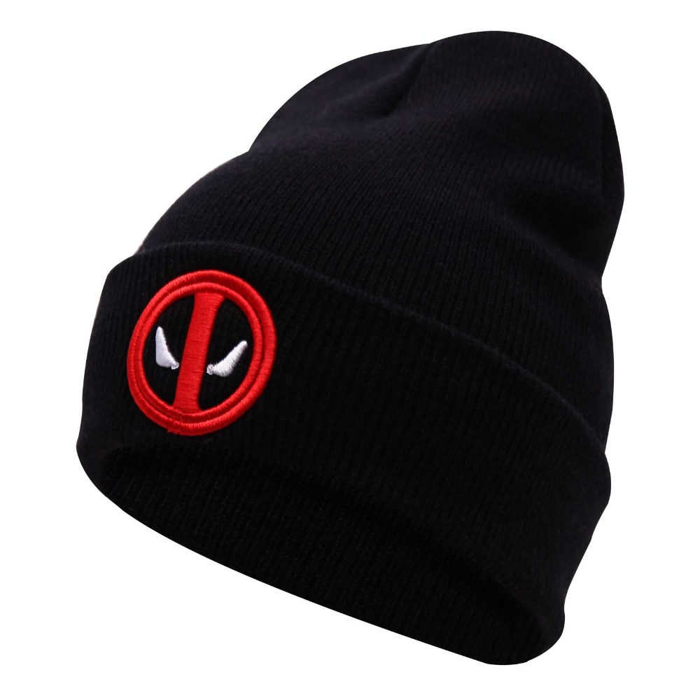 New Hot Selling Cotton Deadpool Winter Hat Embroidery Men And Women Hats Soft Solid Beanies Hip Hop Warm Knitted Caps Gorros 2016 limited gorro gorros brand new women s cotton hip hop ring warm beanie cap winter autumn knitted hats beanies free shipping