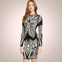 High Quality HL Black White Jacquard Long Sleeve Bandage Dress Elegant Evening Bodycon Dress