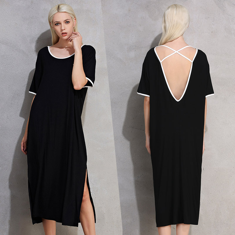 5XL <font><b>Night</b></font> <font><b>Dress</b></font> Casual Summer <font><b>Dress</b></font> <font><b>Sexy</b></font> Backless Mid-Calf Long Dressing Gown Soft Modal Sleepwear Lounge Home Clothes Black image