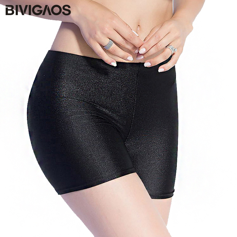 BIVIGAOS New Women Hot Sale Slim Black Glossy Shorts Chinlon Thin Shiny Short Sexy Booty Shorts Pole Dance Shorts Women 3 Color