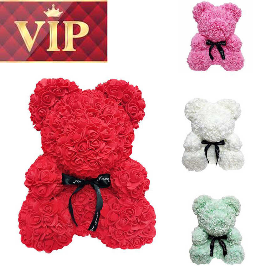 Hot Christmas Gifts 2019.Vip Price Drop Shipping 2019 Hot Sale 25cm Rose Bear Flower