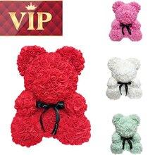 VIP-Цена Прямая доставка 2019 Лидер продаж 25 см Роза медведь цветок искусственный рождественские подарки для женщин подарок ко Дню Святого Валентина