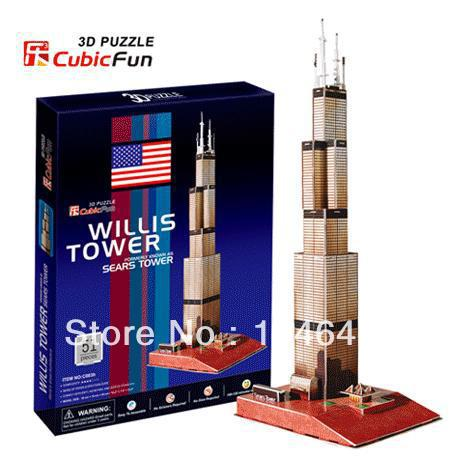 Sears Tower CubicFun 3D educational puzzle Paper & EPS Model Papercraft Home Adornment for christmas gift series s 3d puzzle paper diy papercraft double decker bus eiffel tower titanic tower bridge empire state building