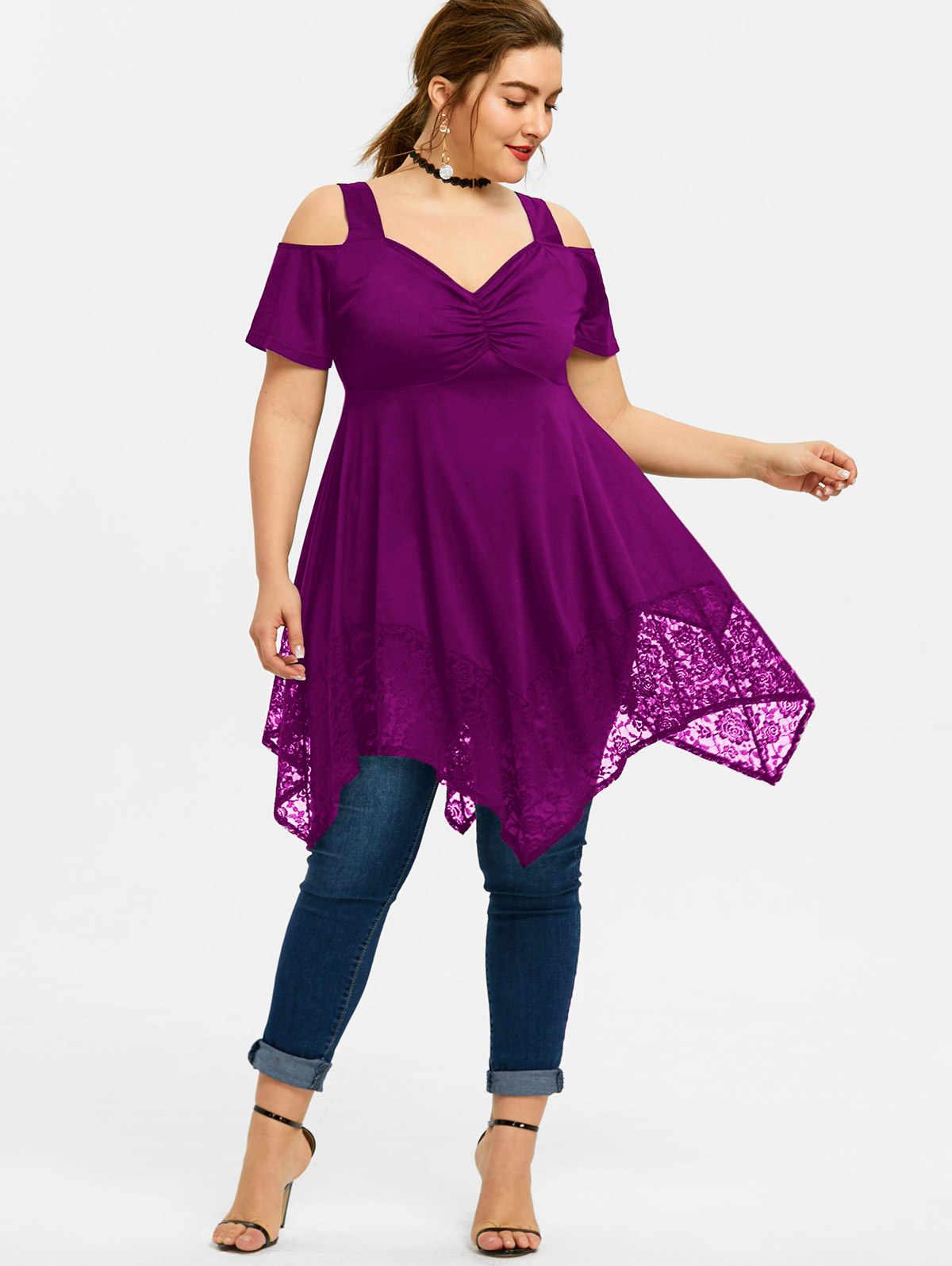 2795b51d4e4b4 Lortalen Plus Size Blouse Women Cold Shoulder High Waist Asymmetric Lace  Tops For Ladies Short Sleeve Fashion Woman Blouses 2019