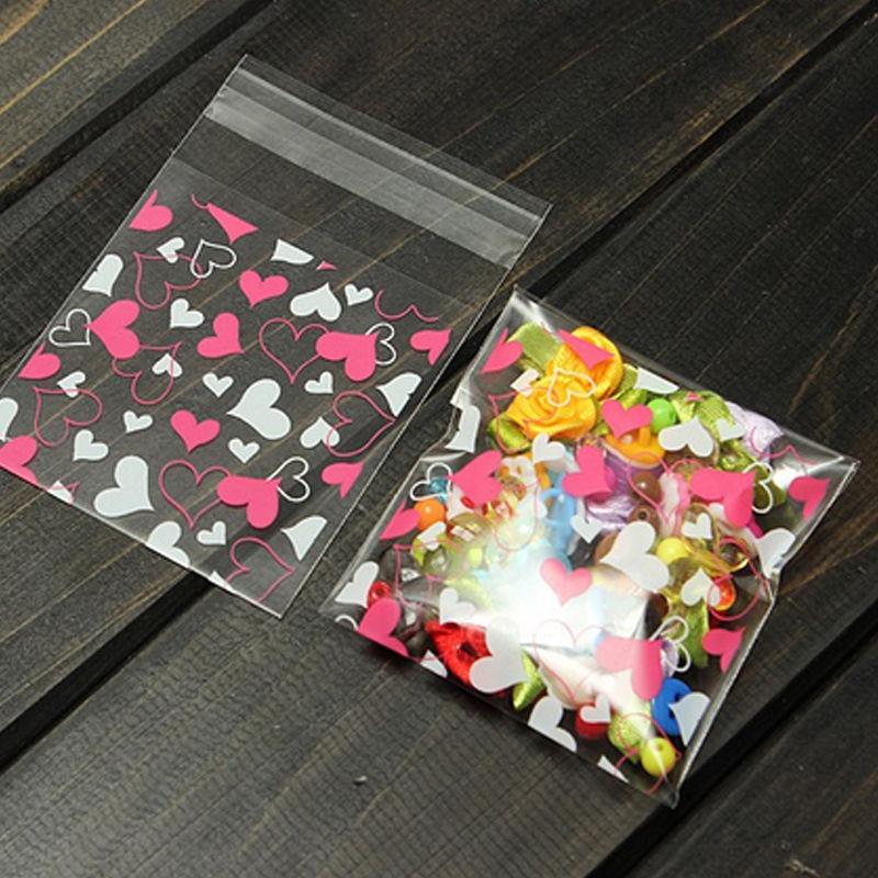 100PCS/LOT Cute Heart Transparent Cookies Package Bag Self-adhesive Birthday Christmas Food Handmade Baking Gift Packaging Bags