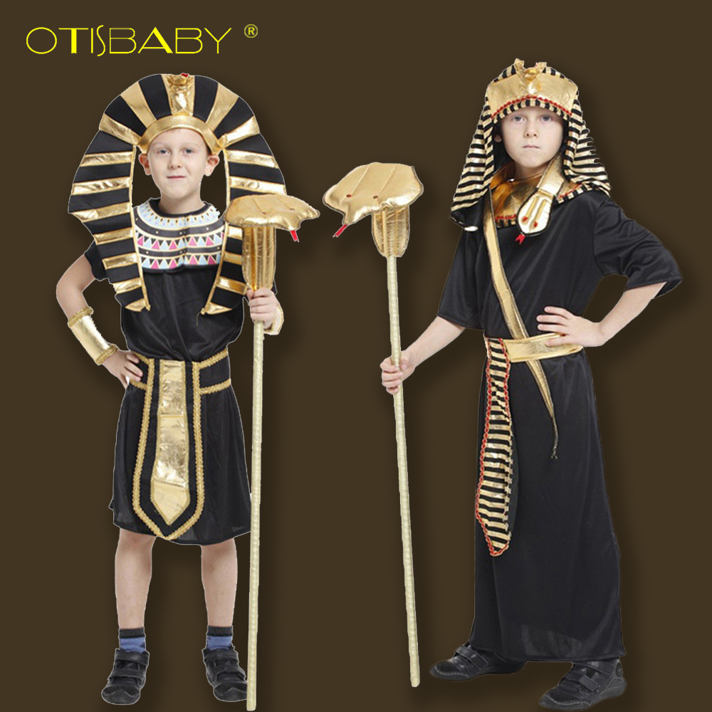 High Quality Boys Cosplay Egyptian Pharaoh Clothes Kids Tracksuits Halloween Boys Clothing Sets Boys Halloween Cosplay Costumes girls boys halloween costumes surgeon sets doctor cosplay stage wear clothing children kids party clothes free drop shipping new