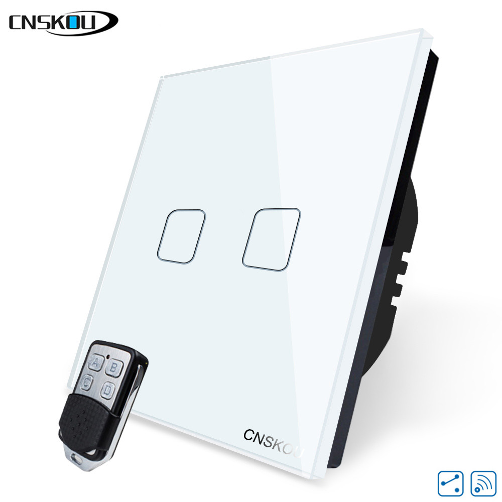 CNSKOU EU/UK STANDARD SMART HOME 2GANG 2WAY WIRELESS REMOTE CONTROL LIGHT TOUCH SWITCHES, RF433