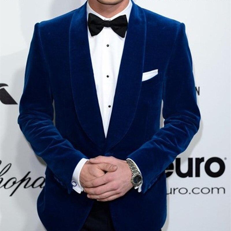 Blue Velvet Mens Suits Latest Coat Pant Designs Groom Men Tuxedos Groomsmen Wedding Party Dinner Man Suits (Jacket+Pants+Tie)