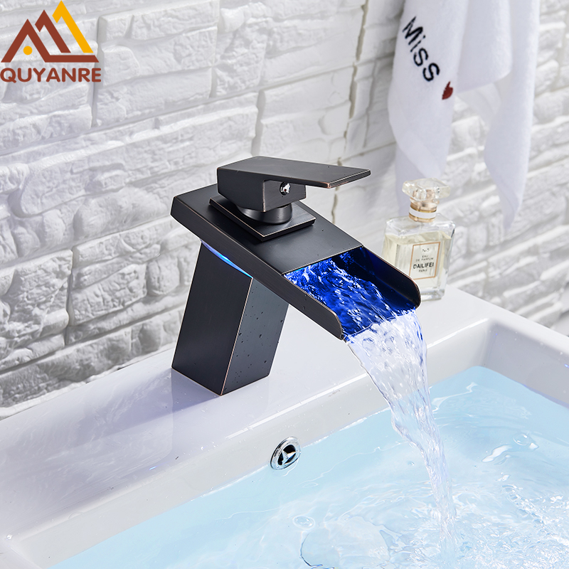 Quyanre LED Blackend Waterfall Basin Faucet LED Light Bathroom Mixer Tap Sink Faucet Single Handle Mixer