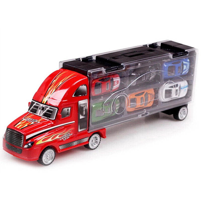Mylitdear Kawaii 1:43 Alloy Car Model Portable Plastic Container Truck 12pcs/lot MINI Metal Cars Toys For Children Birthday Gift