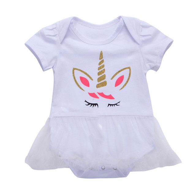 Hot Sell Infant Toddler Baby Girls Clothes Short Sleeve Unicorn