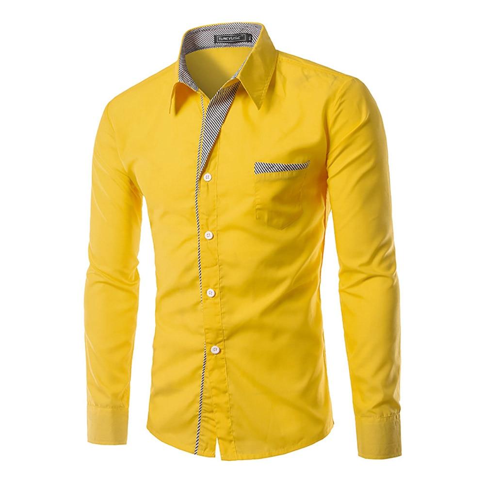 Hot Sale 2017 men shirts long sleeve cotton slim fit 14