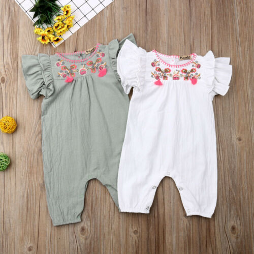 8580cdc21dfd0 0-24Month Newborn Romper Baby Girl Summer Ruffle Floral Romper Toddler One-Piece  Jumpsuit