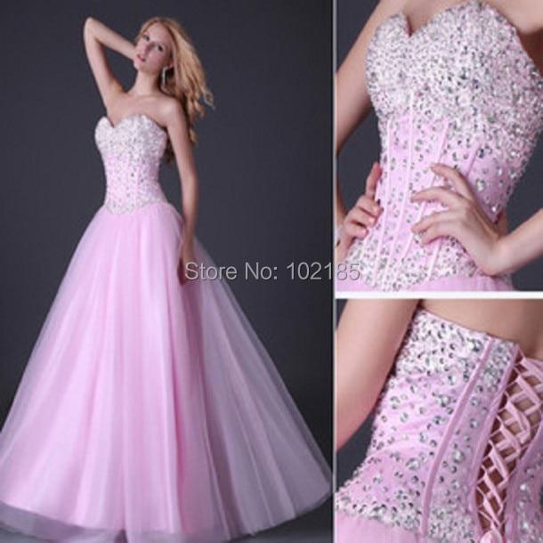 9e2f2424e Vestido de fiesta Pink Corset con cuentas piedras Sweetheart blusa trasera  ata para arriba vestido de
