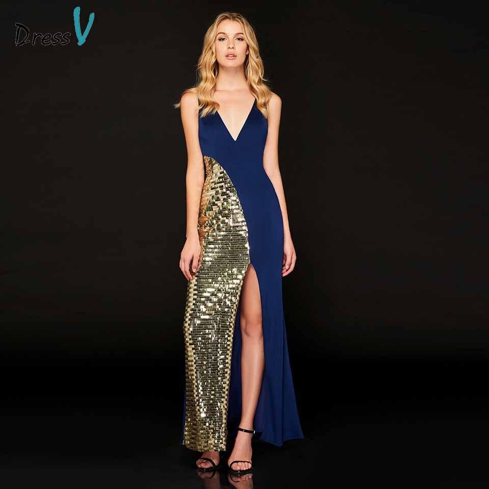 Dressv   evening     dress   v neck sleeveless mermaid sequins split-front floor-length wedding party formal   dress     evening     dresses
