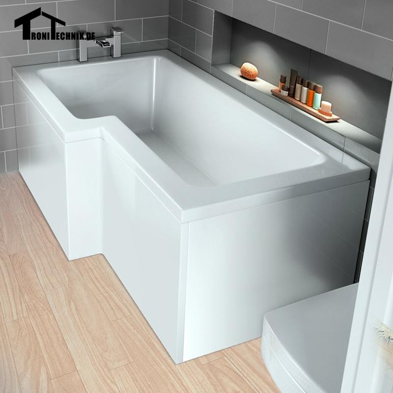 bathtub 1700mm L Shaped Shower Bath Square Left Hand+6mm Glas Screen ...