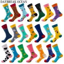 Новые модные мужские носки унисекс высокого качества, женские носки из чесаного хлопка с забавными животными и фруктами, мужские носки большого размера